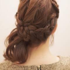 ヘアアレンジ フェミニン 暗髪 ミディアム ヘアスタイルや髪型の写真・画像