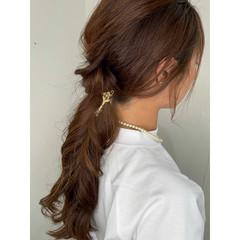 ロング ナチュラル 可愛い セルフヘアアレンジ ヘアスタイルや髪型の写真・画像
