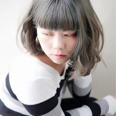 グレー 外国人風 透明感 ボブ ヘアスタイルや髪型の写真・画像