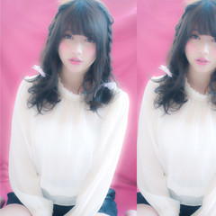 デート フェミニン ピンク 前髪あり ヘアスタイルや髪型の写真・画像