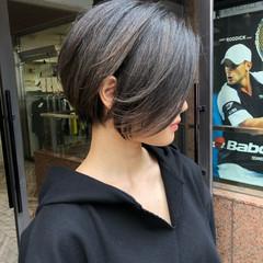 ショートボブ ナチュラル ハンサムショート 簡単スタイリング ヘアスタイルや髪型の写真・画像
