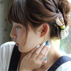 簡単ヘアアレンジ ショート ヘアアレンジ ガーリー ヘアスタイルや髪型の写真・画像