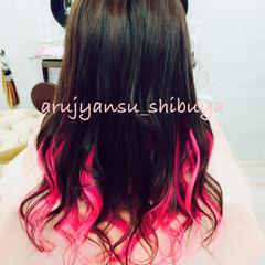 レッド ガーリー ピンク エクステ ヘアスタイルや髪型の写真・画像