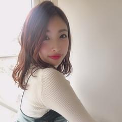 小顔 モテ髪 ミディアム オフィス ヘアスタイルや髪型の写真・画像