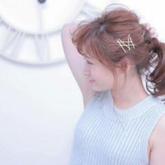 簡単ヘアアレンジ セミロング パーティ 大人かわいい ヘアスタイルや髪型の写真・画像