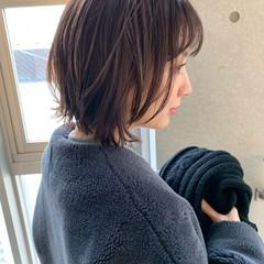 デジタルパーマ ショートボブ 切りっぱなしボブ ミニボブ ヘアスタイルや髪型の写真・画像