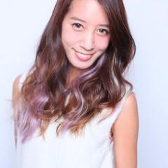ロング グラデーションカラー ガーリー インナーカラーパープル ヘアスタイルや髪型の写真・画像