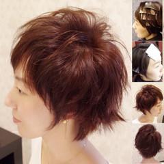 ハイライト ショート 前髪あり ナチュラル ヘアスタイルや髪型の写真・画像
