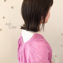 ミディアム 伸ばしかけ ワンカール 切りっぱなしボブ ヘアスタイルや髪型の写真・画像
