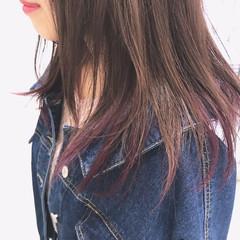 ミディアム ストリート インナーカラー ラベンダー ヘアスタイルや髪型の写真・画像