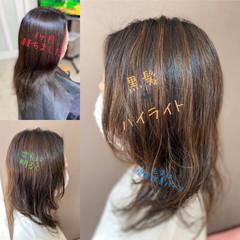 大人ハイライト 3Dハイライト 3Dカラー セミロング ヘアスタイルや髪型の写真・画像