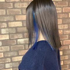 インナーブルー インナーカラー ブルー スロウ ヘアスタイルや髪型の写真・画像
