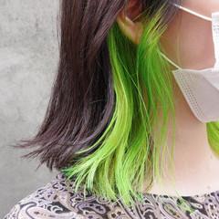 モード 切りっぱなしボブ インナーカラー インナーグリーン ヘアスタイルや髪型の写真・画像