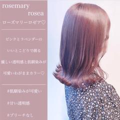 ブリーチなし ラベンダーピンク インナーカラー ナチュラル ヘアスタイルや髪型の写真・画像