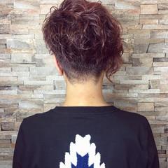 モード ピンク 刈り上げ アシメバング ヘアスタイルや髪型の写真・画像
