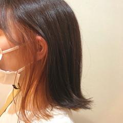 アプリコットオレンジ ボブ フェミニン オレンジカラー ヘアスタイルや髪型の写真・画像