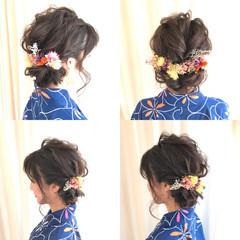 ナチュラル まとめ髪 和装 セミロング ヘアスタイルや髪型の写真・画像