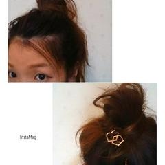 簡単ヘアアレンジ ミディアム メッシーバン ママ ヘアスタイルや髪型の写真・画像
