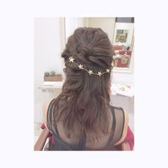 結婚式 ハーフアップ デート ヘアアレンジ ヘアスタイルや髪型の写真・画像