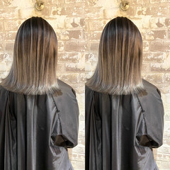 ブリーチ バレイヤージュ 切りっぱなしボブ ナチュラル ヘアスタイルや髪型の写真・画像
