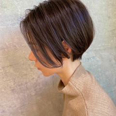 ナチュラル 小顔ショート 大人ハイライト ミニボブ ヘアスタイルや髪型の写真・画像