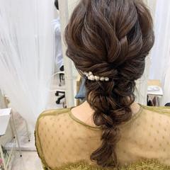 ヘアセット お呼ばれヘア 編みおろしヘア 結婚式ヘアアレンジ ヘアスタイルや髪型の写真・画像