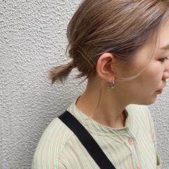ゴールドピン ナチュラル 簡単ヘアアレンジ 切りっぱなしボブ ヘアスタイルや髪型の写真・画像