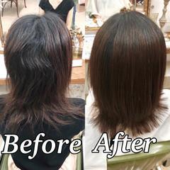 ツヤ髪 ナチュラル 髪質改善 ミディアム ヘアスタイルや髪型の写真・画像