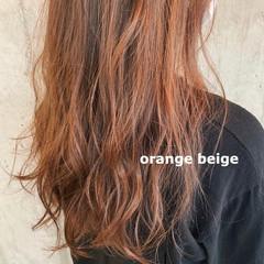 ブリーチカラー ロング ナチュラル オレンジベージュ ヘアスタイルや髪型の写真・画像