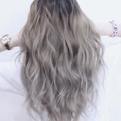 透明感 グラデーションカラー 外国人風 セミロング ヘアスタイルや髪型の写真・画像