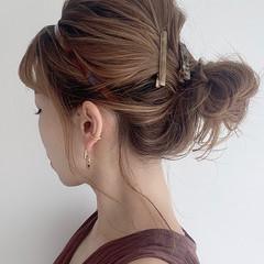 ナチュラル 簡単ヘアアレンジ ヘアアレンジ おだんご ヘアスタイルや髪型の写真・画像