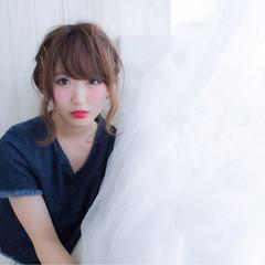 ミディアム ヘアアレンジ ガーリー ピュア ヘアスタイルや髪型の写真・画像