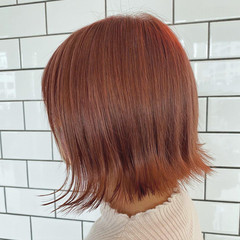 フェミニン 切りっぱなしボブ ミルクティーブラウン ピンクベージュ ヘアスタイルや髪型の写真・画像