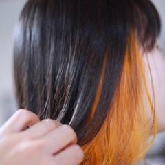 モード ボブ インナーカラー ヘアスタイルや髪型の写真・画像
