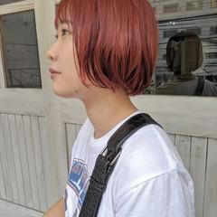 アプリコットオレンジ ボブ ヘアアレンジ 成人式 ヘアスタイルや髪型の写真・画像