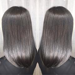 透明感 アッシュ ミディアム 秋 ヘアスタイルや髪型の写真・画像