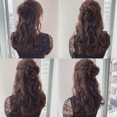 ハーフアップ デート 結婚式 ロング ヘアスタイルや髪型の写真・画像