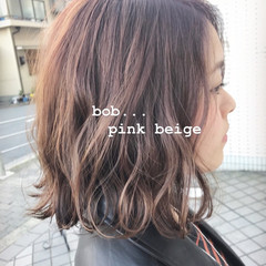モテボブ 切りっぱなしボブ ボブ ピンク ヘアスタイルや髪型の写真・画像
