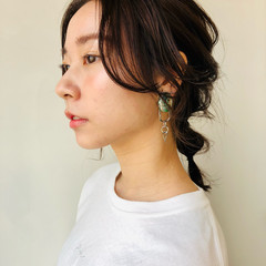 簡単ヘアアレンジ N.オイル お団子アレンジ セルフヘアアレンジ ヘアスタイルや髪型の写真・画像