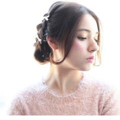 ガーリー ショート 簡単ヘアアレンジ ミディアム ヘアスタイルや髪型の写真・画像