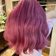 ダブルカラー ガーリー ロング ピンク ヘアスタイルや髪型の写真・画像