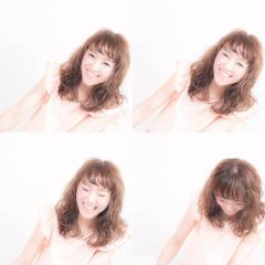 オン眉 大人かわいい 夏 ゆるふわ ヘアスタイルや髪型の写真・画像