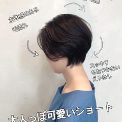 ハンサムショート ショート ナチュラル 小顔ショート ヘアスタイルや髪型の写真・画像