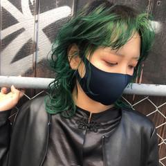 ストリート 派手髪 ハイトーン ミディアム ヘアスタイルや髪型の写真・画像