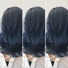 グラデーションカラー 外国人風 ブルー ミディアム ヘアスタイルや髪型の写真・画像