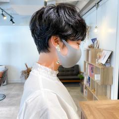 黒髪 ショート 黒髪ショート パーマ ヘアスタイルや髪型の写真・画像