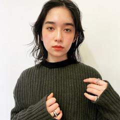 韓国ヘア ナチュラル 大人ミディアム 暗髪 ヘアスタイルや髪型の写真・画像