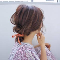 デート リボンアレンジ ヘアアレンジ お団子ヘア ヘアスタイルや髪型の写真・画像