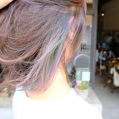 ボブ ミディアム インナーカラー ラフ ヘアスタイルや髪型の写真・画像