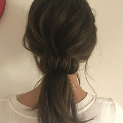 セミロング デート ヘアアレンジ ローポニーテール ヘアスタイルや髪型の写真・画像